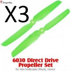 Helices 2 branches plastique 6030 vertes *3