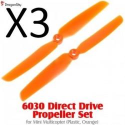 Helices 2 branches plastique 6030 orange *3